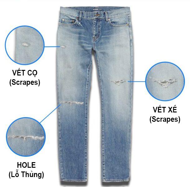 Các loại vết rách cơ bản có trong quần Jeans