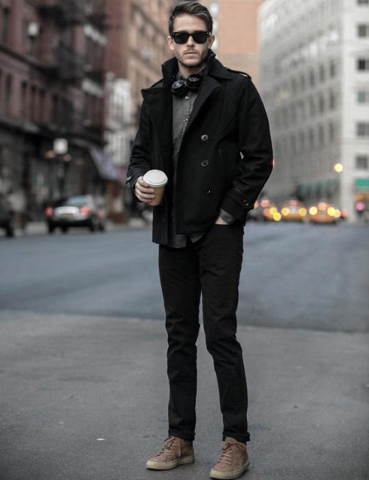 Quần jeans đen + áo sơ mi + giầy tây + kính râm + đồng hồ! Đơn giản đầy quyến rũ của phải nam