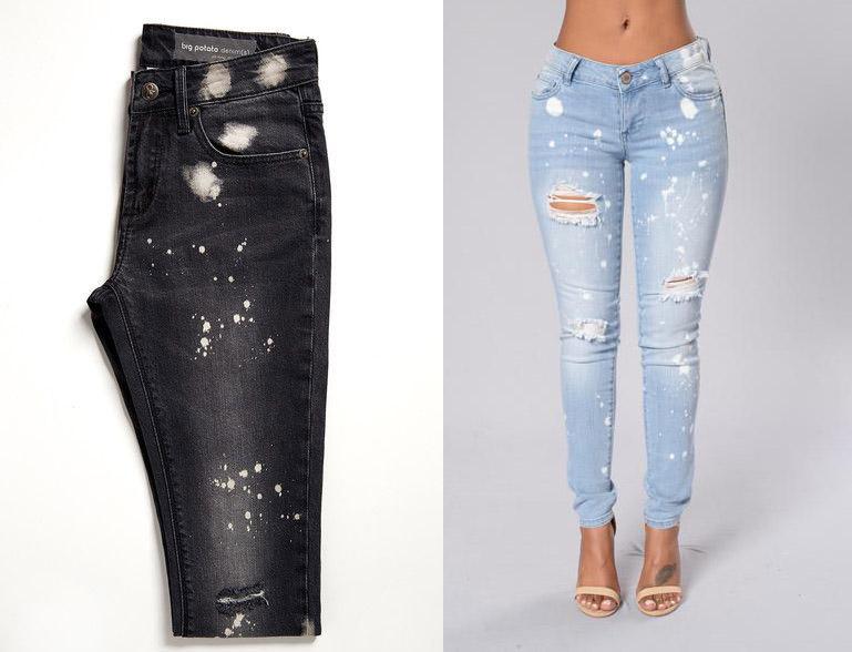 Hiệu ứng điểm trắng xuất hiện trên nên vải Jeans sau khi sử dụng PP vãy hỗn hợp KMnO4.