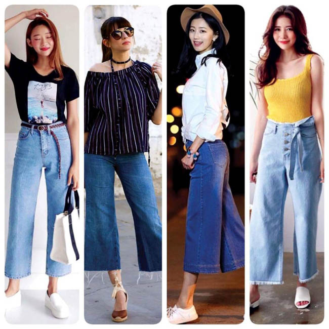 Phong cách thời trang mới với Jeans Cullotes + giày, dép bằng tạo vẻ nữ tính duyen dáng cho người mặc