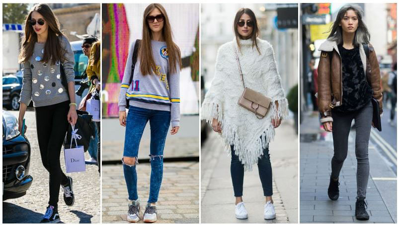 Quần jeans + giầy sneaker - Là cặp bài trùng thể hiện sự trẻ trung nặng động người mặc, được giới trẻ rất yêu thích