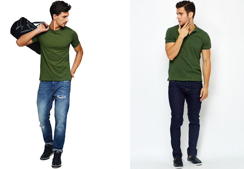 Áo thun xanh Ô liu được người mẫu phối với quần jeans xanh
