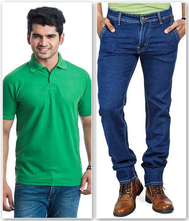 Áo xanh lá cấy trẻ trung khi mặc chung với quần jean xanh nam tính