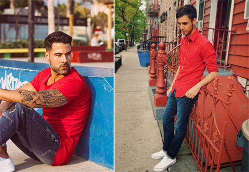 Chói lóa và cực kỳ nổi bật dạo phố với áo thun đỏ phối với quần jeans nam