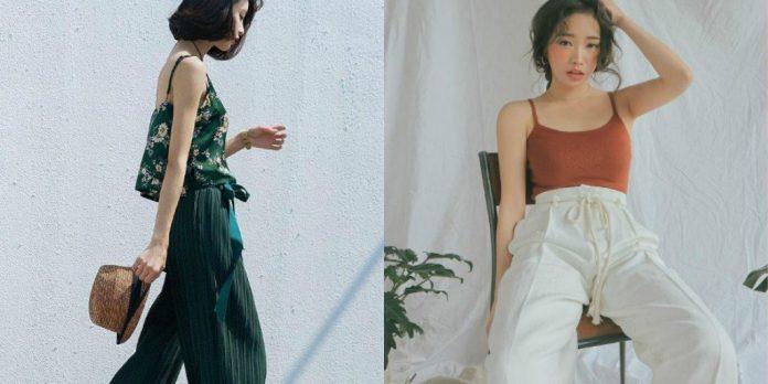 Sexy cùng với cách mix đồ giữa áo 2 dây và quần jean ống rộng.