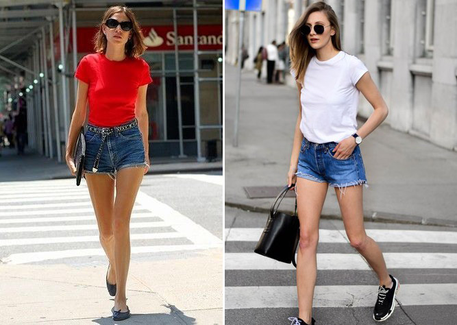 Ao thun + quan shorts jeans năng động là kiểu phối cơ  bản nhất  được giới trẻ lựa chọn.