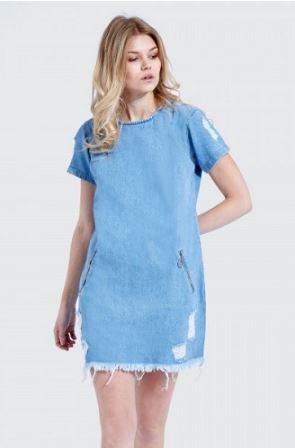 Ripped tunic dress là mẫu váy jeans đơn giản được wash rách tinh tế khiến bạn trong thật cá tính và gợi cảm