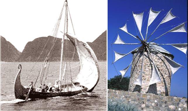 Buồm thương thuyền & Cói xây gió dùng vải Canvas làm cánh đón gió