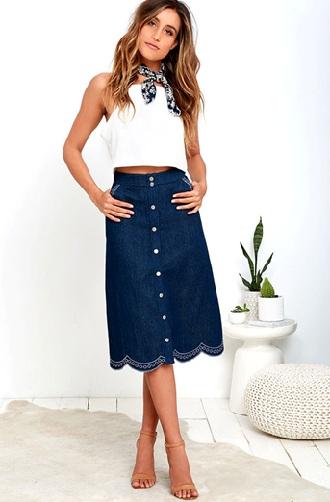 Cực kỳ quý phái và quyến rũ với váy jeans Midi
