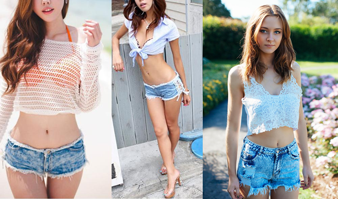 Cực kỳ sexy và quyến rũ với cách phối quần shorts  jeans với áo Croptop