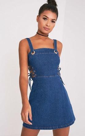 Eyelet Detail Dress Đầm jeans được may kèm theo chi tiết mắt lưới khiến bạn trong gợi cảm hơn rất nhiều