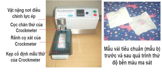 Giải thích chi tiết về thiết bị Crockmeter. Loại thiết bị được dùng để  thử nghiệm đồ bền ma sát của vải