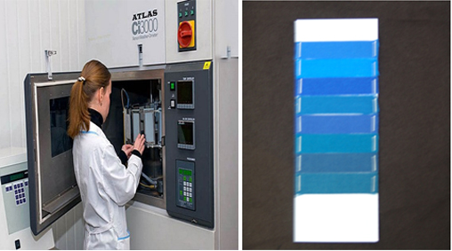 Kiểm tra độ bền ánh sáng bằng máy giả lập ánh sáng mặt trời bằng đèn Neon