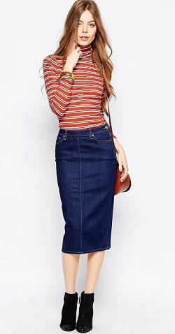 Váy jean bút chì cực kỳ quyến rũ dành cho các bạn nữ đi dự tiệc với bạn bè.