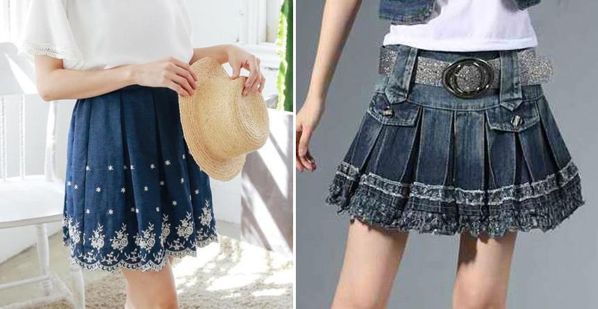 Váy jean xếp  ly loại váy dễ thương dành cho các bạn nữ tuổi teen