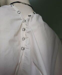 Áo Choàng Cắt Tóc SPA Nút Bấm Khoen Sắt Màu Trắng! 9
