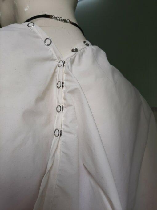 Áo Choàng Cắt Tóc SPA Nút Bấm Khoen Sắt Màu Trắng! 5