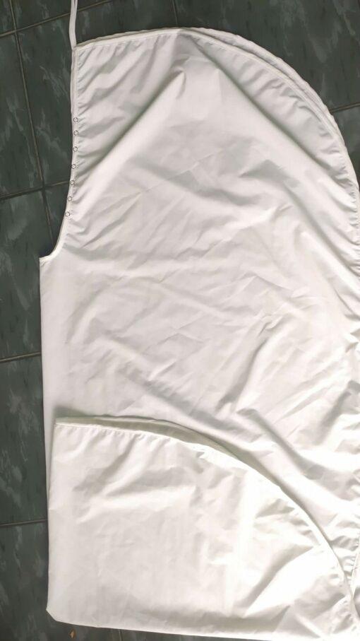 Áo Choàng Cắt Tóc SPA Nút Bấm Khoen Sắt Màu Trắng! 7
