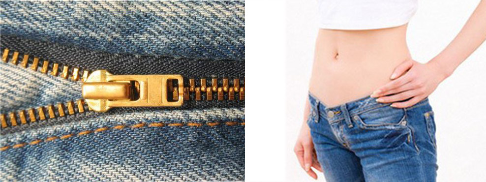 Đay kéo quần là điểm khác biệt lớn nhất giữa quần jeans Nam và Nữ.  Dây  kéo quần jeans nữ ngắn hơn nam