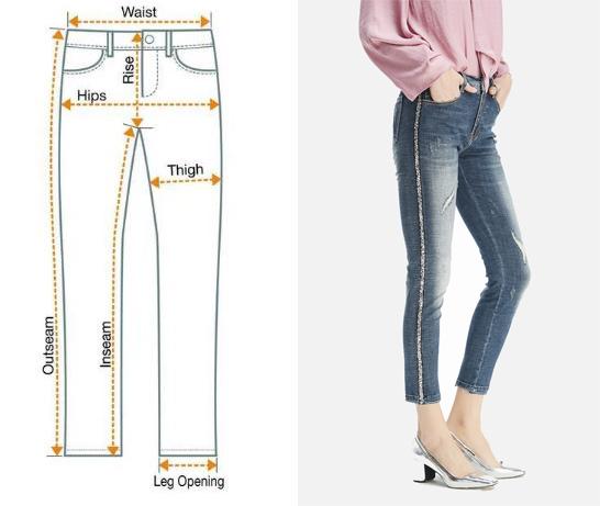 Hình ảnh Sideseam của một quần jeans nữ giới