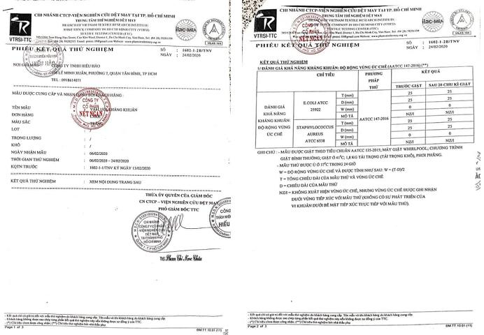 Phiếu Kết quả kiểm nghiệm đánh giá chất lượng khẩu trang theo yêu cầu của chính phủ.