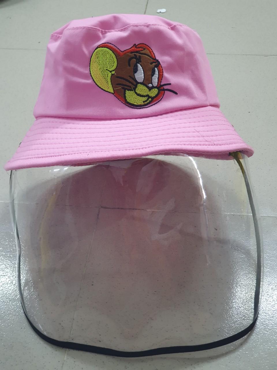 Mũ Chống Giọt Bắn Dành Cho Trẻ Em Loại Mũ Tai Bèo Mầu Hồng Chuột 4
