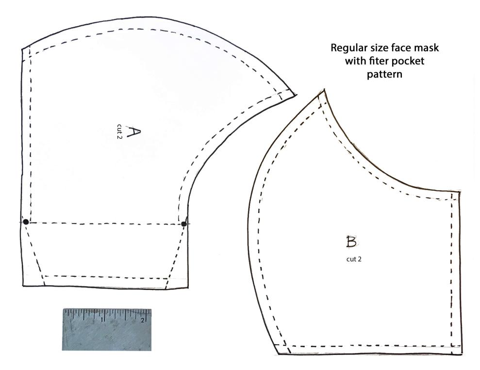 Hình mẫu để cắt may khẩu trang vải tại nhà. In ra giấy và cắt vải theo mẫu