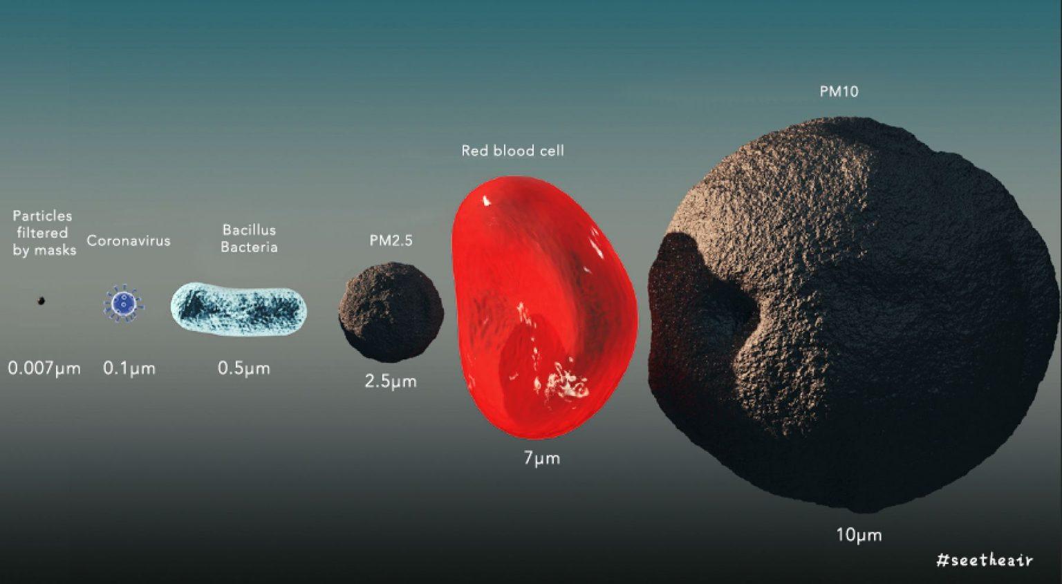 Kích thước & độ lớn của Corona Covid-19 là từ 125nm – 140nm ( tương đương 0,125 micron – 0,140 micron), nhỏ hơn bụi min PM 2.5. Nguồn Wikipedia.