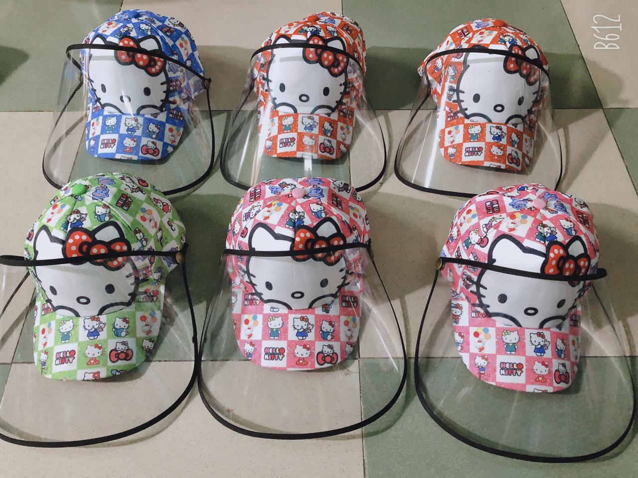 Mũ có màng chắn chống dịch chủ đề hello kitty dễ thường dành cho trẻ em