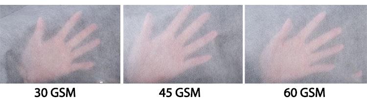 Hình ảnh thật mật độ vải (GSM) để so sánh sự khác nhau tại mức: 30 GSM - 45GSM - 60GSM của vải may quần áo bảo hộ y tế