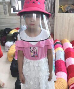 Nón Bảo Vệ Chống Dịch Dành Cho Trẻ Em Hình Pikachu Màu Hồng. 6