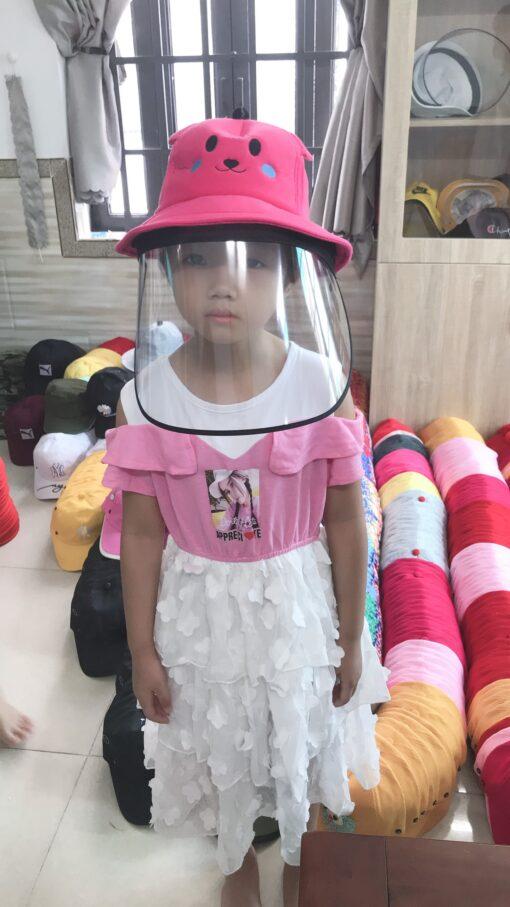 Nón Bảo Vệ Chống Dịch Dành Cho Trẻ Em Hình Pikachu Màu Hồng. 4