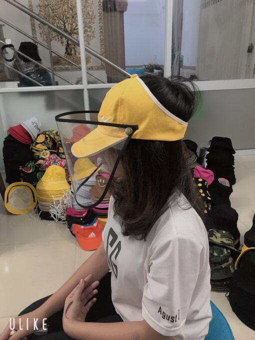 Nón Kết Hở Đầu Có Vành Che Chống Dịch In Logo Nike Màu Vàng Dành Cho Người Lớn 3