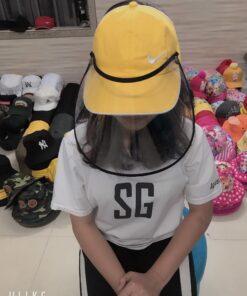 Nón Kết Hở Đầu Có Vành Che Chống Dịch In Logo Nike Màu Vàng Dành Cho Người Lớn 5