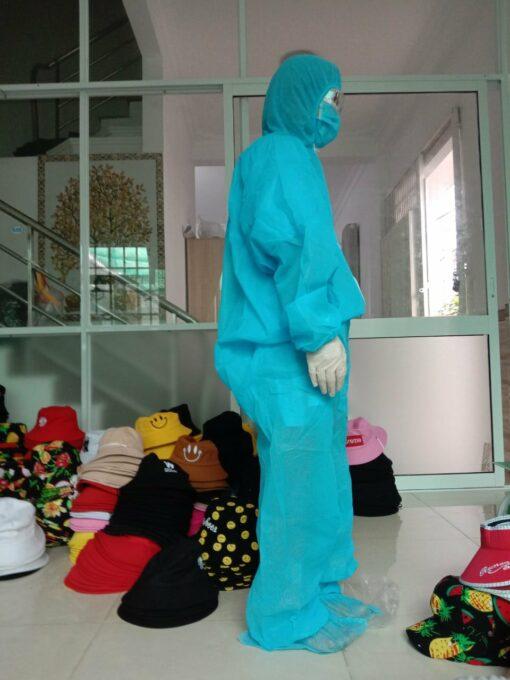 Quần áo bảo hộ y tế chống dịch bệnh loại 2 mảnh màu xanh - Mặt bên hông của sản phẩm