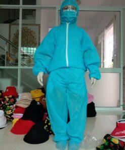 Quần áo bảo hộ y tế chống dịch bệnh loại 2 mảnh màu xanh - Mặt phía trước của sản phẩm