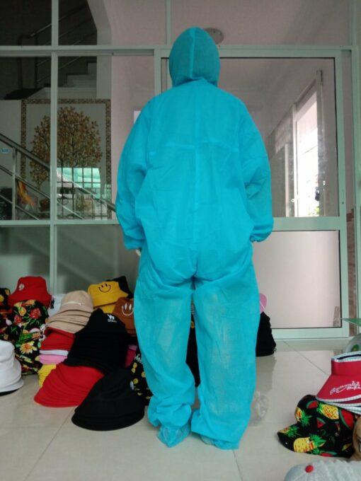 Quần áo bảo hộ y tế chống dịch bệnh loại 2 mảnh màu xanh - Mặt sau lưng của sản phẩm