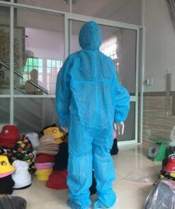 Quần áo bảo hộ chống dịch mặt phía sau lưng màu xanh loại dùng cho người lớn liền thân dùng một lần