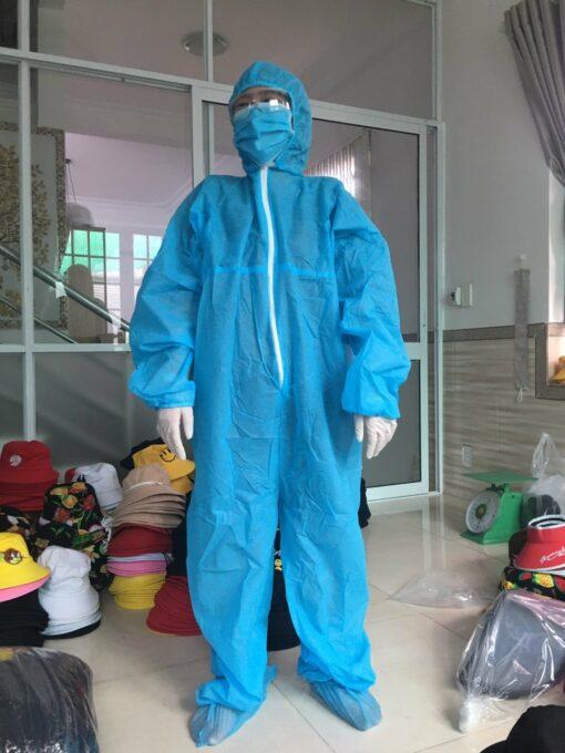 Quần áo bảo hộ y tế mặt phía trước màu xanh loại dùng cho người lớn liền thân dùng một lần - hình 2