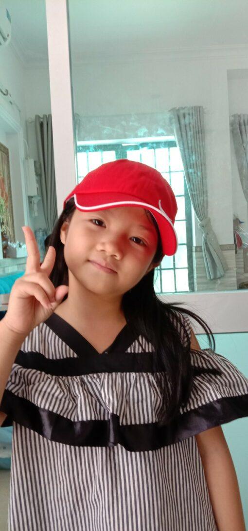 Nón Kết Có Thêu Logo Vành Nhựa Chống Dịch Dành Cho Trẻ Em Màu Đỏ 4