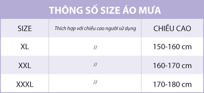 Bảng thông số Size và Chiều Cao Khuyến Cáo của size áo mưa.