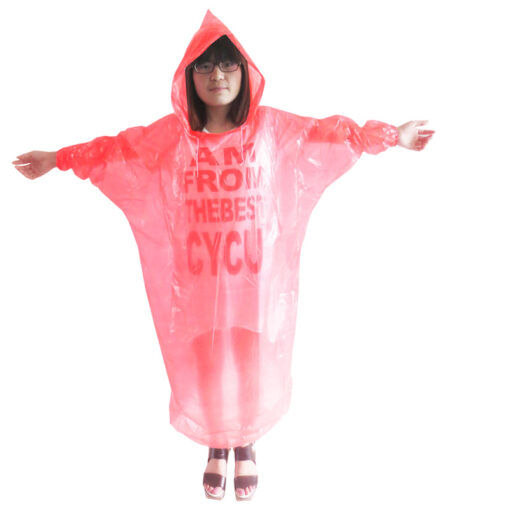 Áo Mưa Tiện Lợi Trẻ Em Có Mũ – Loại Áo Mưa Dùng Một Lần Màu Đỏ Dành Cho Trẻ Em. 3