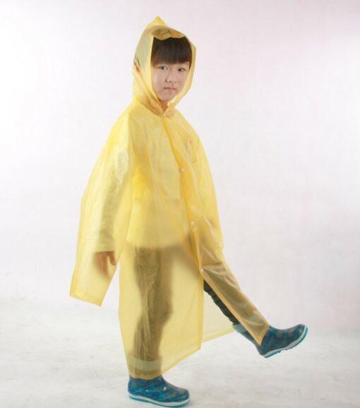 Áo Mưa Tiện Lợi Trẻ Em - Loại Áo Mưa Dùng Một Lần Màu Vàng Có Nút Gài Dành Cho Trẻ Em. 3