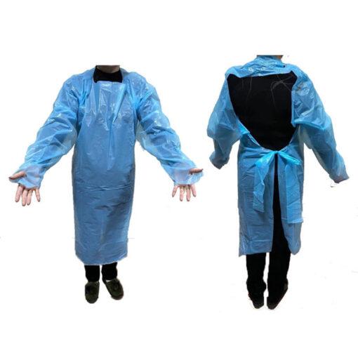 Áo tạp dề nhựa PE Hở Lưng- Loại áo dùng một lần chất lượng cao, có dây cột ở cổ và eo. 3
