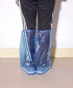 Bọc Giày Đi Mưa Cổ Cao - Loại Bọc Giầy Tiện Lợi PE Trong Suốt Màu Xanh Sử Dụng 1 Lần Chống Nước. 5