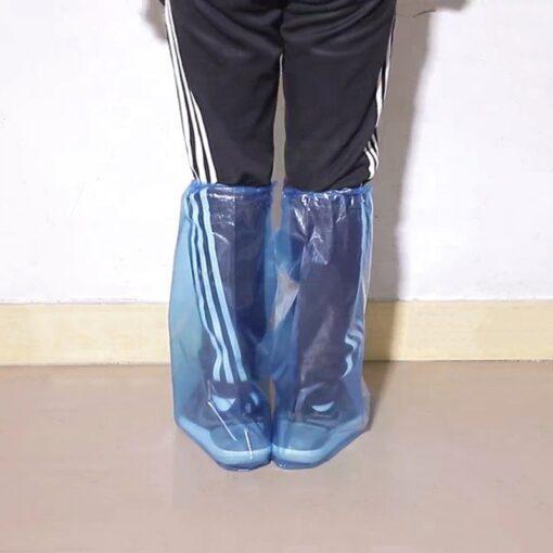 Bọc Giày Đi Mưa Cổ Cao - Loại Bọc Giầy Tiện Lợi PE Trong Suốt Màu Xanh Sử Dụng 1 Lần Chống Nước. 3