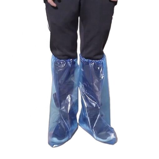 Bọc Giày Đi Mưa Cổ Cao - Loại Bọc Giầy Tiện Lợi PE Trong Suốt Màu Xanh Sử Dụng 1 Lần Chống Nước. 4