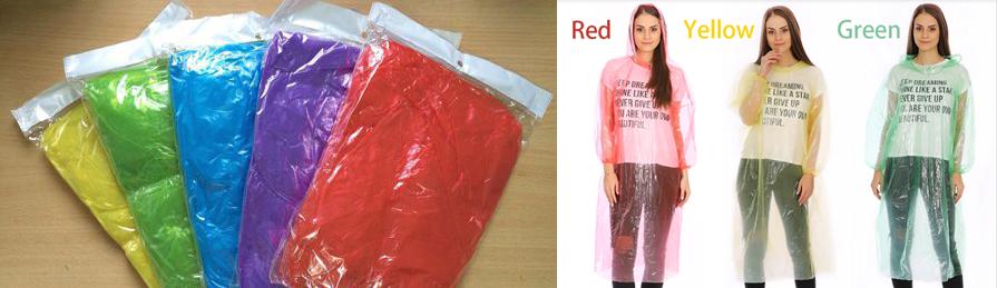 Các màu sắc thường thấy của áo mưa tiện lợi PE loại dùng một lần phổ biến trên thị trường.