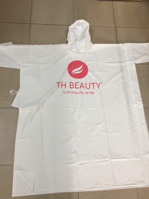 Áo Mưa TH BEAUTY - Loại Áo Mưa Cánh Dơi Nhựa PVC Phối Màu Trắng Sữa Có In Logo. 3