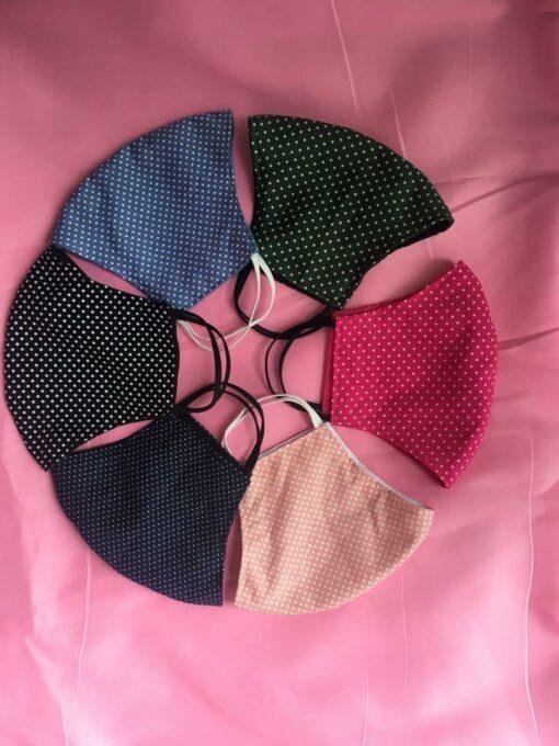 Khẩu Trang Vải 2 Lớp Chấm Bi Nhiều Màu Sắc Dành Cho Mùa Thu Size Xuất Khẩu. 3